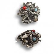 PV2122/K Ручка кнопка с кристаллами старое серебро