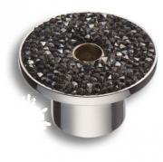 STONE16/CP-SW/A Ручка кнопка c графитовыми кристаллами Swarovski, цвет покрытия - хром 16 мм