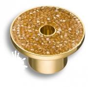 STONE16/O-SW/O Ручка кнопка c золотыми кристаллами Swarovski, цвет покрытия - глянцевое золото 16 мм