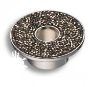 STONE32/CP-SW/A Ручка кнопка c графитовыми кристаллами Swarovski, цвет покрытия - хром 32 мм