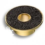 STONE32/O-SW/N Ручка кнопка c чёрными кристаллами Swarovsk, цвет покрытия - глянцевое золото 32 мм