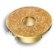 STONE32/O-SW/O Ручка кнопка c золотыми кристаллами Swarovski, цвет покрытия - глянцевое золото 32 мм