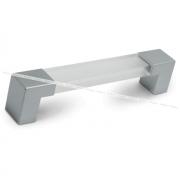 Ручка-скоба 128мм хром матовый/пластик прозрачный UK30118/128