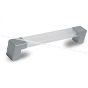 Ручка-скоба 160мм хром матовый/пластик прозрачный UK30118/160