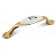 Ручка-скоба 96мм бронза состаренная/керамика цветы UP191AB/MLK