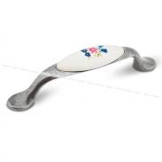 Ручка-скоба 96мм серебро состаренное/керамика цветы UP191GA/MLK