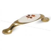 Ручка-скоба 96мм бронза состаренная/керамика осенний цветок UP192AB/MLK