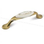 Ручка-скоба 96мм бронза состаренная/керамика золотые узоры UP193AB/MLK