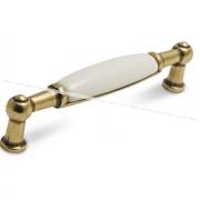 Ручка-скоба 96мм бронза состаренная/керамика UP210AB/MLK