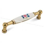 Ручка-скоба 96мм бронза состаренная/керамика цветы UP211AB/MLK
