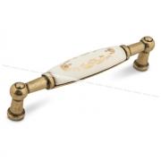 Ручка-скоба 96мм бронза состаренная/керамика золотые узоры UP213AB/MLK