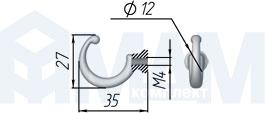 WK1106 Крючок однорожковый никель матовый