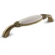 Ручка-скоба 128мм бронза состаренная/керамика белые узоры WMN.78.01.M3.128.D1