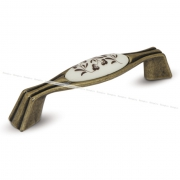 Ручка-скоба 96мм бронза состаренная/керамика коричневые узоры WMN.730.096.00D1