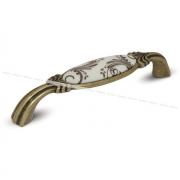 Ручка-скоба 128мм бронза состаренная/керамика коричневые узоры WMN.781.128.00D1
