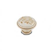 Ручка-кнопка D35мм cлоновая кость/золото винтаж керамика золотые узоры WPO.77.01.M1.000.T5