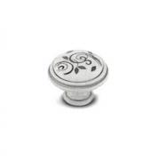 Ручка-кнопка D35мм белый/серебро винтаж керамика серебряные узоры WPO.77.00.M2.000.T4