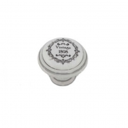 Ручка-кнопка D35мм белый/серебро винтаж керамика Vintage WPO.77.00.Q3.000.T4