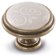 Ручка-кнопка D35мм бронза состаренная/керамика белые узоры WPO.77.01.M3.000.D1