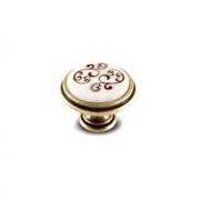 Ручка-кнопка D35мм бронза состаренная/керамика коричневые узоры WPO.77.01.P4.000.D1