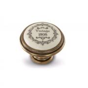Ручка-кнопка D35мм бронза Орваль/керамика Vintage WPO.77.01.Q3.000.A8