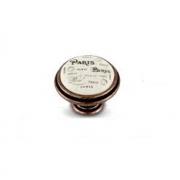 Ручка-кнопка D35мм медь состаренная/керамика Paris WPO.77.01.Q4.000.C1