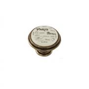 Ручка-кнопка D35мм бронза состаренная/керамика Paris WPO.77.01.Q4.000.D1