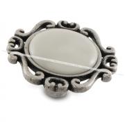 Ручка-кнопка серебро состаренное/керамика WPO.41.01.00.000.E8