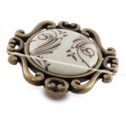 Ручка-кнопка бронза состаренная/керамика коричневые узоры WPO.41.01.H2.000.D1