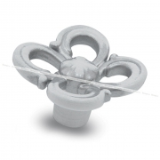Ручка-кнопка белый/серебро винтаж WPO.636.031.00V4