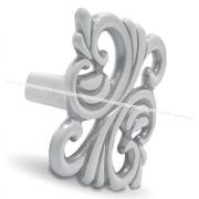 Ручка-кнопка 32мм белый/серебро винтаж WPO.707.032.00V4