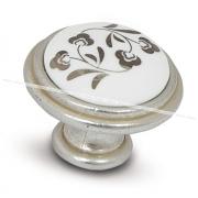 Ручка-кнопка D30мм серебро Венецианское/керамика серебрянные узоры WPO.730.000.00M5