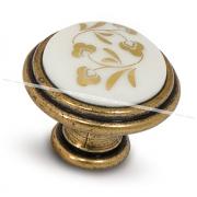 Ручка-кнопка D30мм бронза Орваль/керамика золотые узоры WPO.771.000.00A8