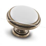 Ручка-кнопка D35мм бронза состаренная/керамика WPO.77.01.00.000.D1