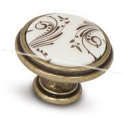 Ручка-кнопка D35мм бронза состаренная/керамика коричневые узоры WPO.781.000.00D1