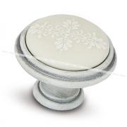 Ручка-кнопка D35мм белый/серебро винтаж, керамика белые узоры WPO.781.000.00T4