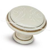 Ручка-кнопка D35мм cлоновая кость/золото винтаж, керамика белые узоры WPO.781.000.00T5